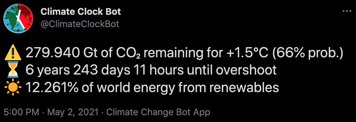 Screenshot of a tweet from @ClimateClockBot.